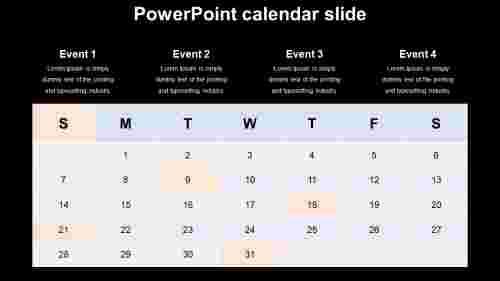 powerpoint calendar slide - editable design