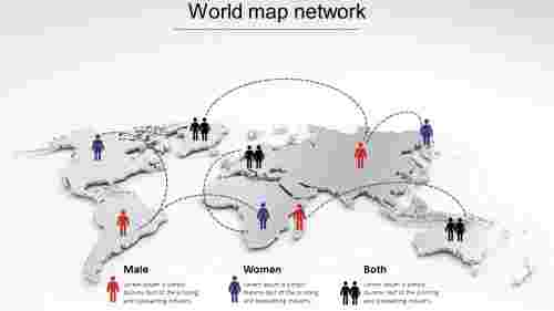 world map ppt template-network model