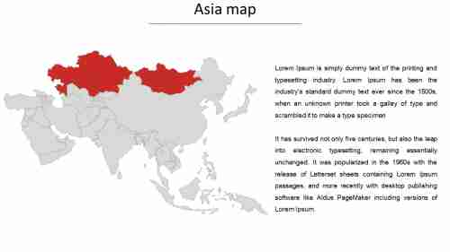 Asia map ppt template