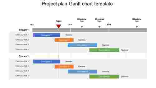 Project plan Gantt chart template slide