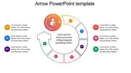 Free arrow powerpoint template - circular model
