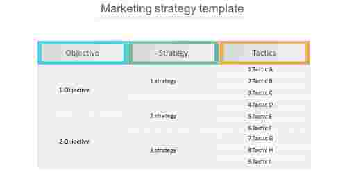 Tactics for marketing strategy template