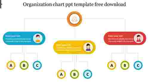 Simple design organization chart ppt template free download