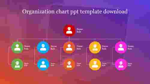 Attractive organization chart PowerPoint template download