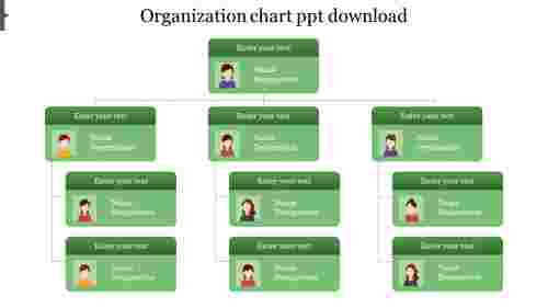 Basic design of organization chart template powerpoint