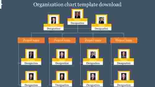 organization chart ppt template download frame model