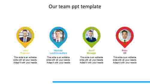 our team ppt template teardrop model