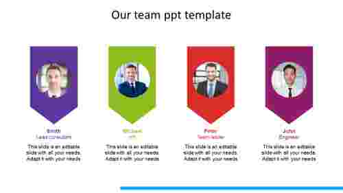 our team ppt template arrow model