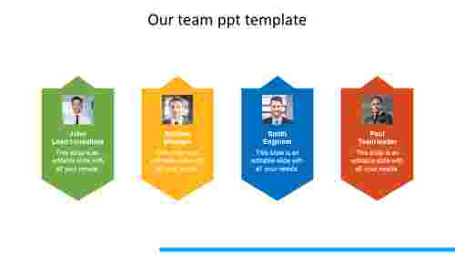 our team ppt template chevron model