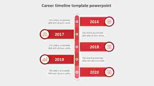 career timeline template powerpoint-red