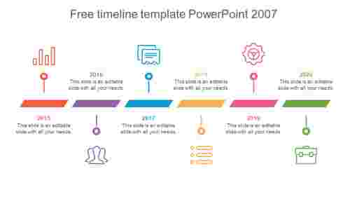 Editable free timeline template PowerPoint 2007