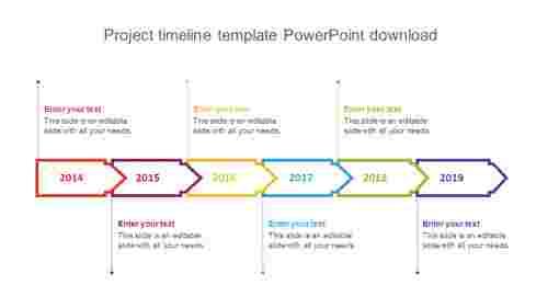 Project timeline template PowerPoint download arrow design
