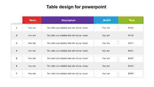 Simple table design for powerpoint