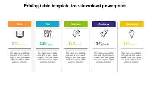 Strategy for pricing table template free download powerpoint