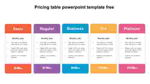 pricing table powerpoint template free