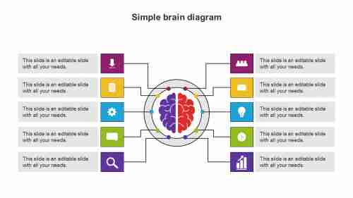 Simple%20Brain%20Diagram%20PowerPoint%20Template%20For%20Mind%20Map
