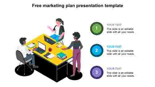 free marketing plan presentation template slide