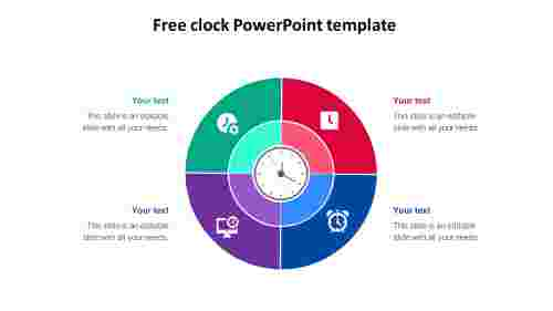 free clock powerpoint template slide