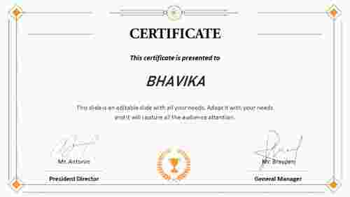 certificate template ppt free download