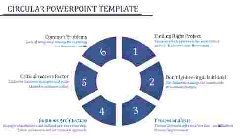 A six noded circular powerpoint template