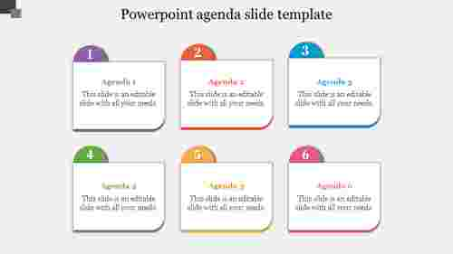 Multi-color PowerPoint agenda slide template