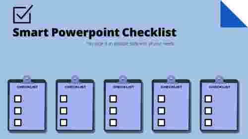 5 clipboards PowerPoint checklist template