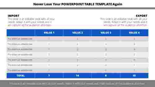 powerpoint table template