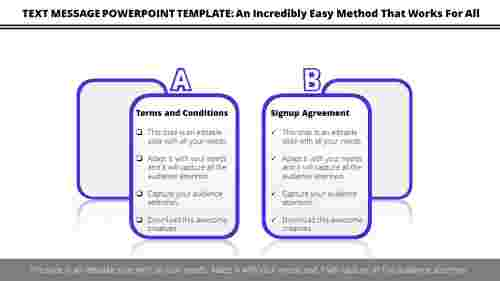 Text message PowerPoint template comparison checklist