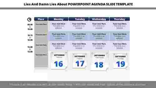 PowerPoint agenda slide template calendar model