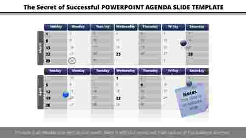 powerpoint agenda slide template calendar design