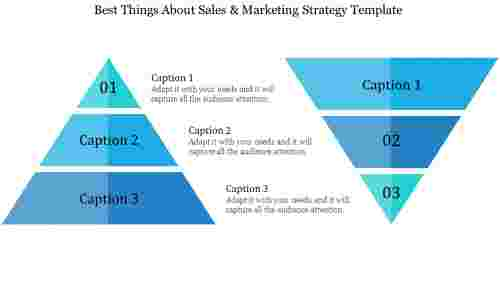 sales & marketing strategy template - Triangle shape