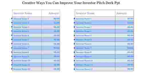 Table model Investor Pitch Deck PPT