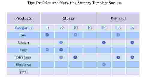 Sales and marketing strategy template using table design