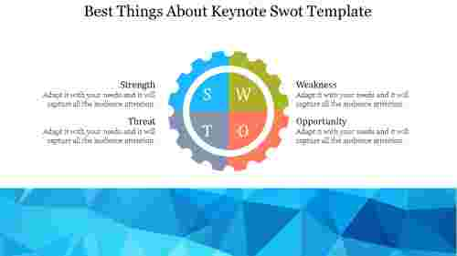 keynote SWOT template for business in gear wheel