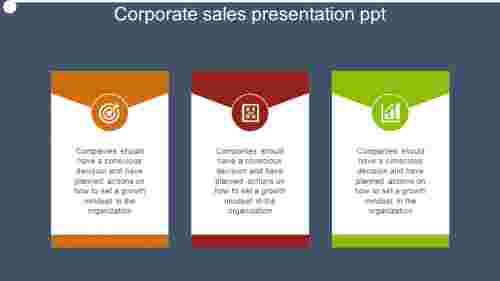 corporate sales presentation ppt text box model