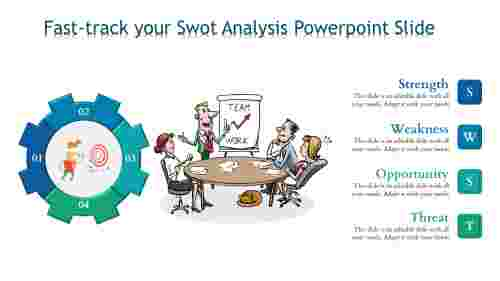 Editable SWOT analysis powerpoint slide