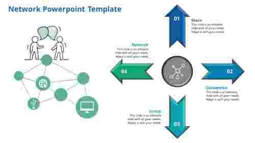 Network Powerpoint Template in 4 way direction