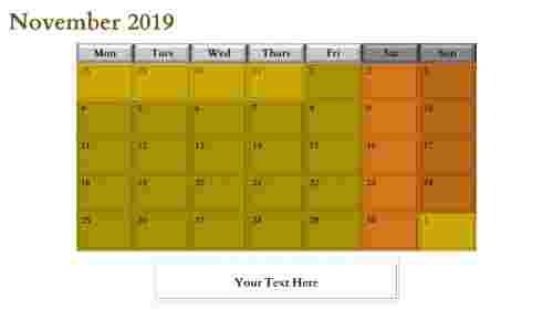 PowerPoint calendar slide november month