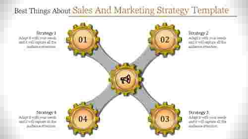 Gear Shaped  Sales And Marketing Strategy Template
