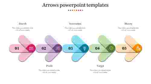 Multicolored five Arrows Powerpoint Templates
