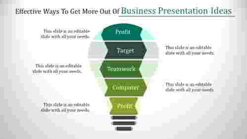 Bulb model business presentation ideas
