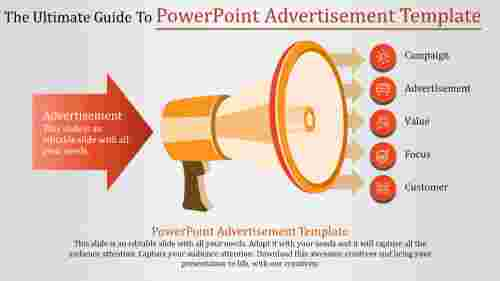 Powerpoint advertisement template with megaphone diagram