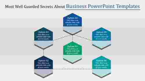 Simple hexagon shapes business powerpoint templates