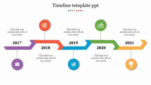 timeline template ppt - Zig Zag model