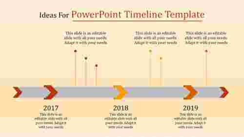 A three noded powerpoint timeline template