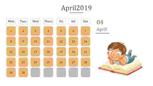 Calendar presentation template With orange color box