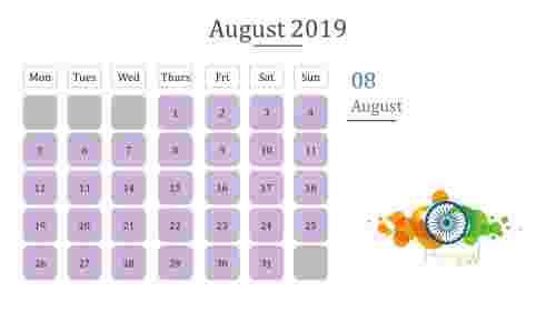 Calendar presentation template With purple color box
