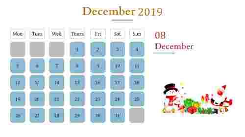 Calendar presentation template With blue color box