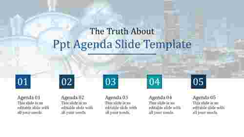 Five stage powerpoint agenda slide template