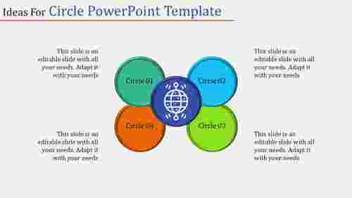 Four stage multicolor circle powerpoint template